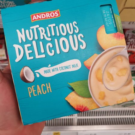 Andros Nutritious Delicious Peach Yoghurt Alternative 4X100g