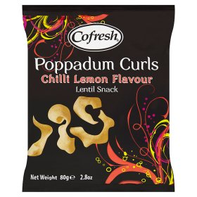 Cofresh Poppadum Curls Chilli Lemon Flavour Lentil Snack