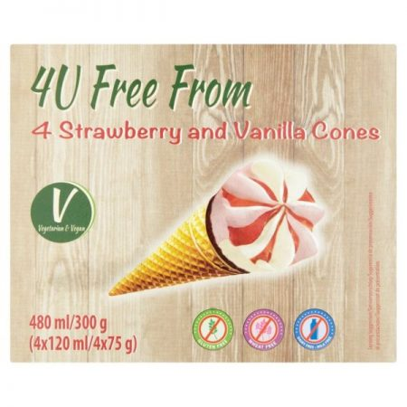 4U Free From Strawberry + Vanilla Cones 4 x 120ml