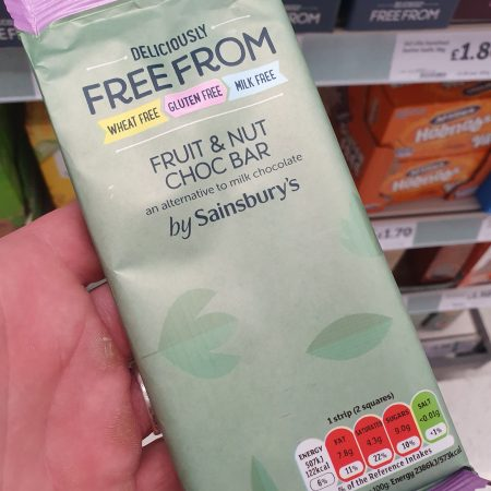 Sainsbury's Deliciously Free From Fruit & Nut Chocolate Bar 85g