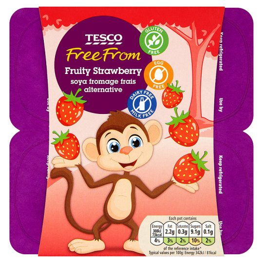 Tesco Free From Strawberry Soya Fromage Alternative 4x90g