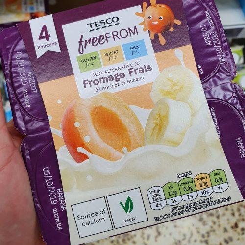 Tesco Free From Apricot & Banana Soya Yoghurt 4X90g
