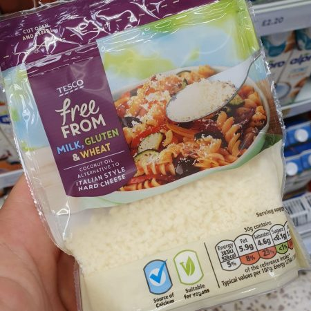 Tesco Free From Coconut Oil Alternative To Italian Hard Cheese 60G
