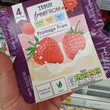 Tesco Free From Raspberry Strawberry Soya Alternative 4X90g