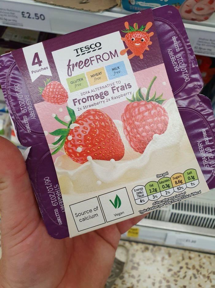 Tesco Free From Raspberry Strawberry Soya Alternative 4X90g