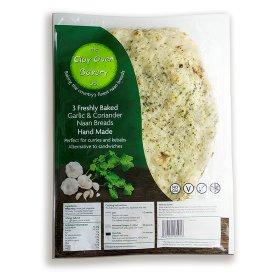 The Clay Oven Bakery Ltd 3 Garlic & Coriander Naan Breads
