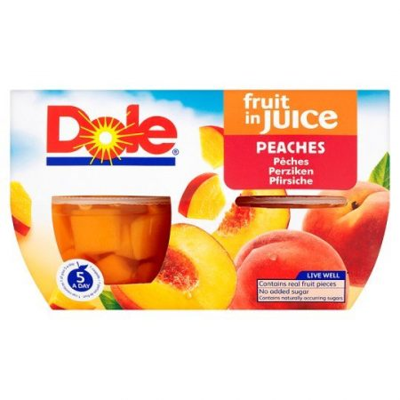 Dole Fruit Bowl Peaches In Juice 4X113g
