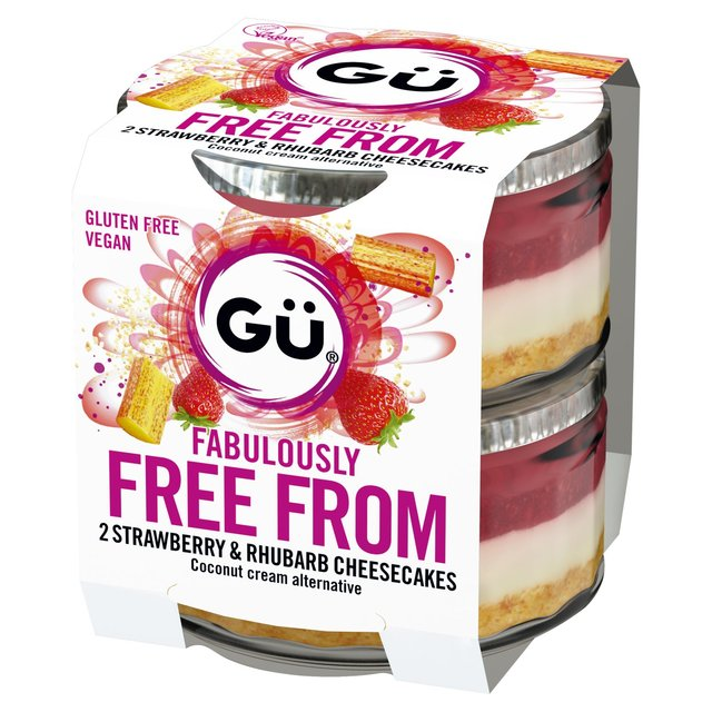 Gu Fabulously Free From 2 Strawberry & Rhubarb Cheesecakes 2 x 95g