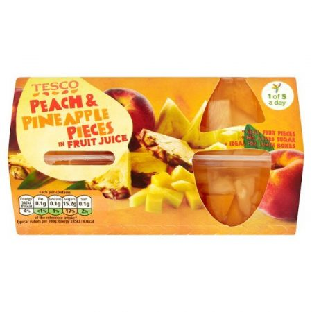Tesco Peach And Pineapple Pieces Fruit Juice 4X120g