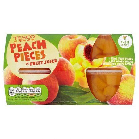 Tesco Peach Pieces Juice Fruit Pots 4x120g