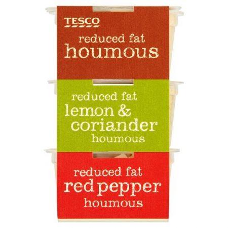 Tesco Reduced Fat Houmous Selection Plain Lemon Pepper 210g