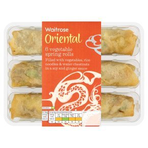 Waitrose 6 vegetable spring rolls 216g
