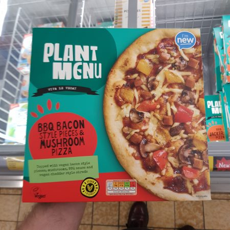 Plant Menu BBQ Bacon Style Pieces & Mushroom Pizza
