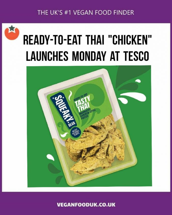 New Vegan Ready To Eat Thai-Style Chicken To Launch at Tesco