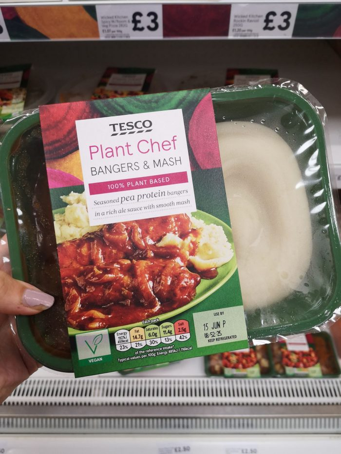 Tesco Plant Chef Bangers Mash 425g Vegan Food Uk