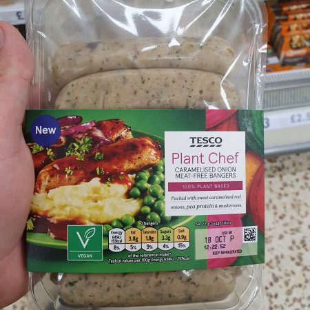 Tesco Plant Chef Caramelised Onion Meat Free Bangers 350g