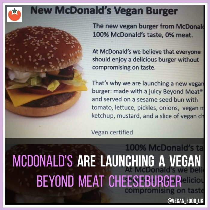 McDonald's To Launch a Vegan Cheeseburger in the UK