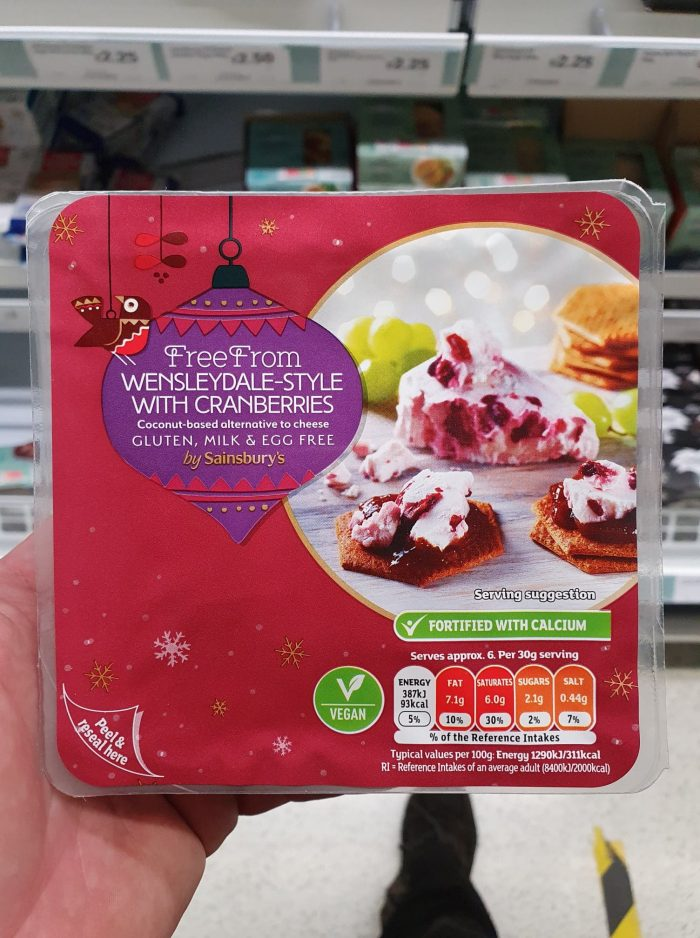 Sainsbury's Deliciously Free From Wensleydale-Style with Cranberries 200g