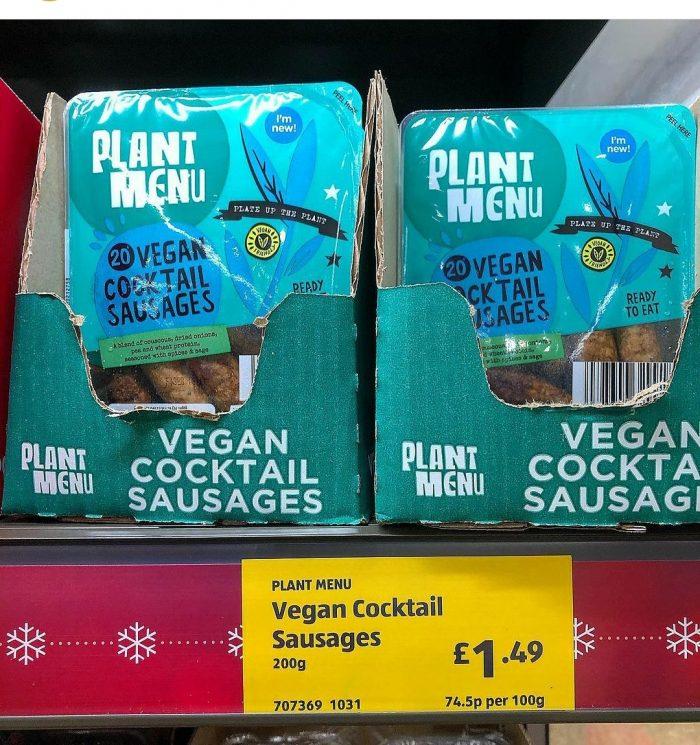 Aldi Plant Menu Vegan Cocktail Sausages 200g