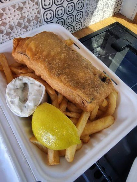 box of vegan fish and chips