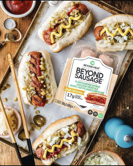 Beyond Sausage package and in buns