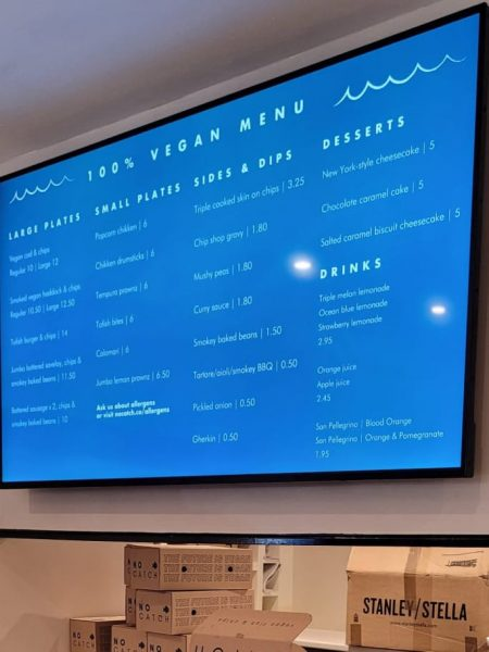 No Catch menu showing prices and food sold